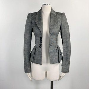 Alvin Valley 2 Blazer Grey Peplum Stretch Linen XS